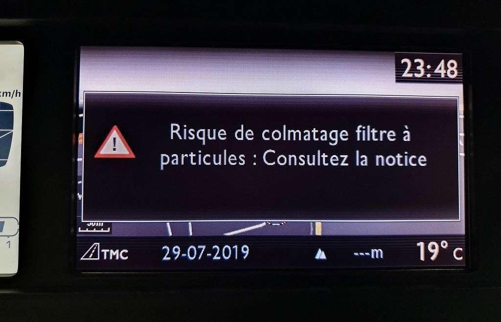 Que signifie un risque de colmatage fap dans une Citroën c4 ?